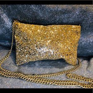 Gold Glitter J Crew Crossbody Clutch Brand New